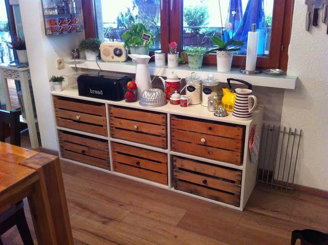 Dieses selbstgebaute Sideboard mit alten Holzkisten ist sehr - kommode für küche