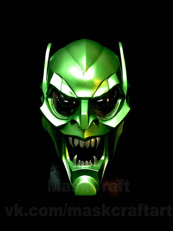 Green Goblin Helmet Inspired Spider Man Universe Marvel Comics Etsy Green Goblin Goblin Spiderman