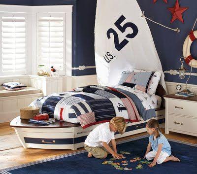 Pottery Barn Kids Speedboat Bed Trundle Kids Room Design Boys Nautical Bedroom Nautical Bedroom