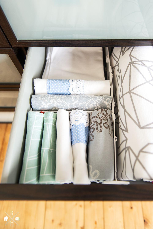 bettw sche aufbewahren mit tchibo get organized pinterest bettwaesche schubladen und. Black Bedroom Furniture Sets. Home Design Ideas