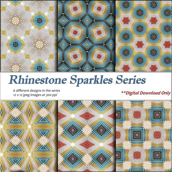Digital Download Printable paper craft DIY gift wrapping paper and digital background rhinestone colors