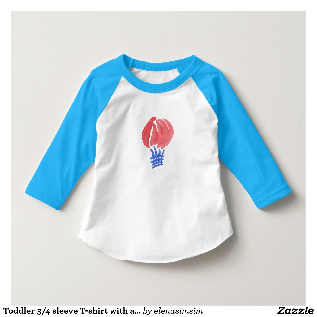 Toddler 3/4 sleeve T-shirt with air balloon