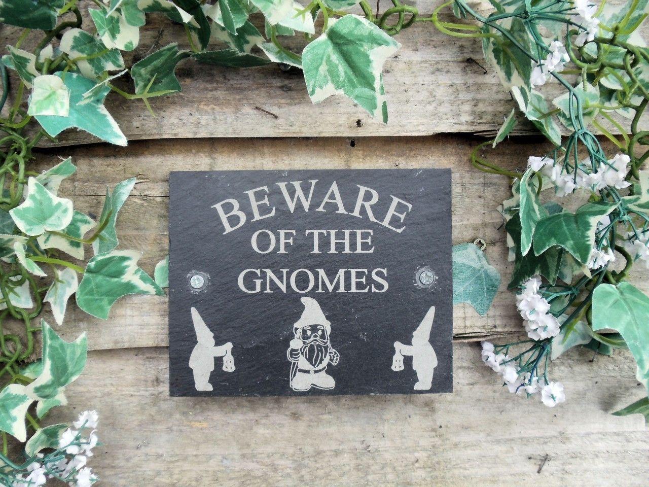 """Beware Of The Gnomes"" Natural Slate Door Plaque | eBay"
