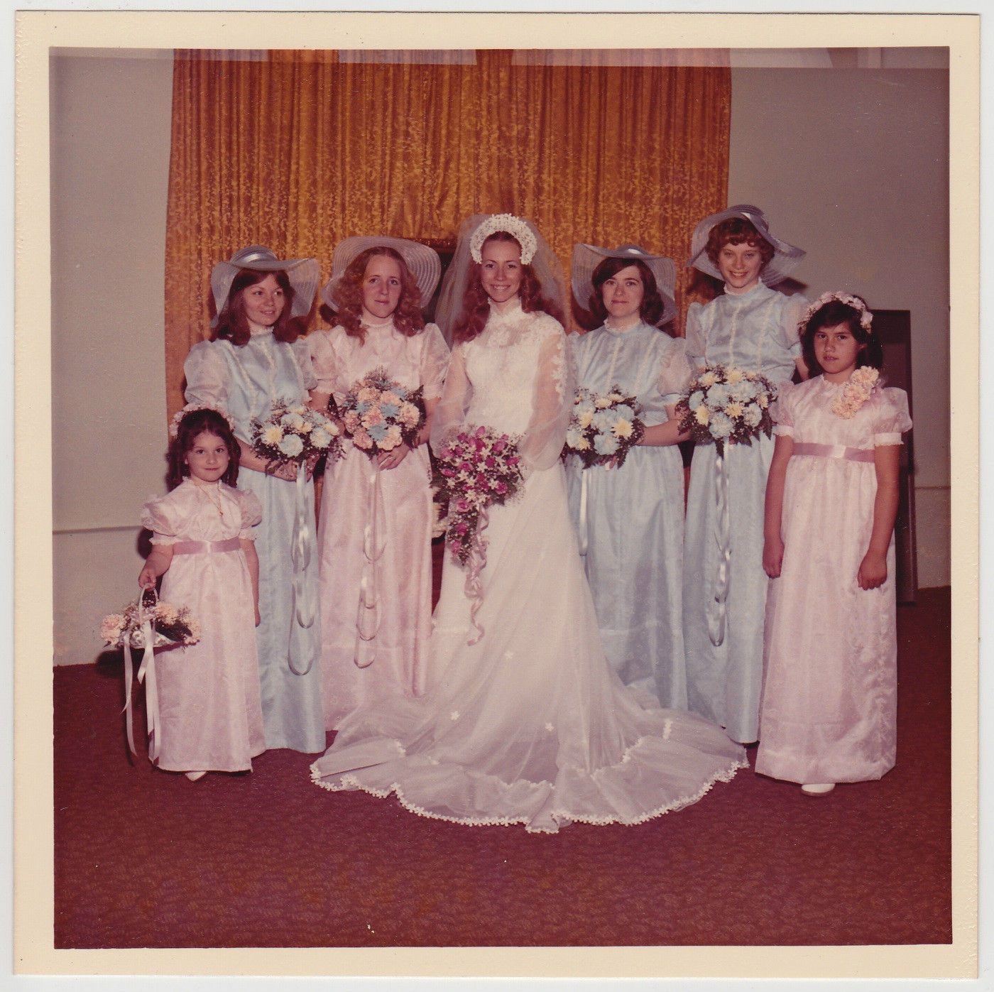 Vintage 70s photo wedding bride w maid of honor bridesmaids flower vintage 70s photo wedding bride w maid of honor bridesmaids flower girls ebay ombrellifo Images