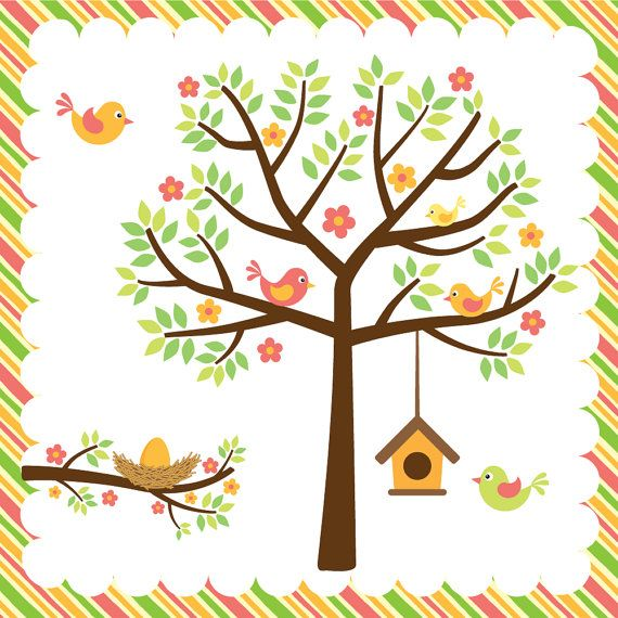 Birds Trees Birdhouse And Nest It S A Warm Spring Digital
