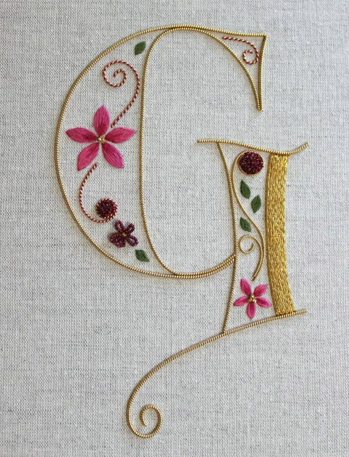 Silk and gold monogramming embroidery in threads