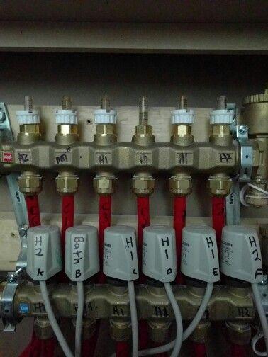 Caleffi Hydronic Radiant Floor Manifold With Actuators