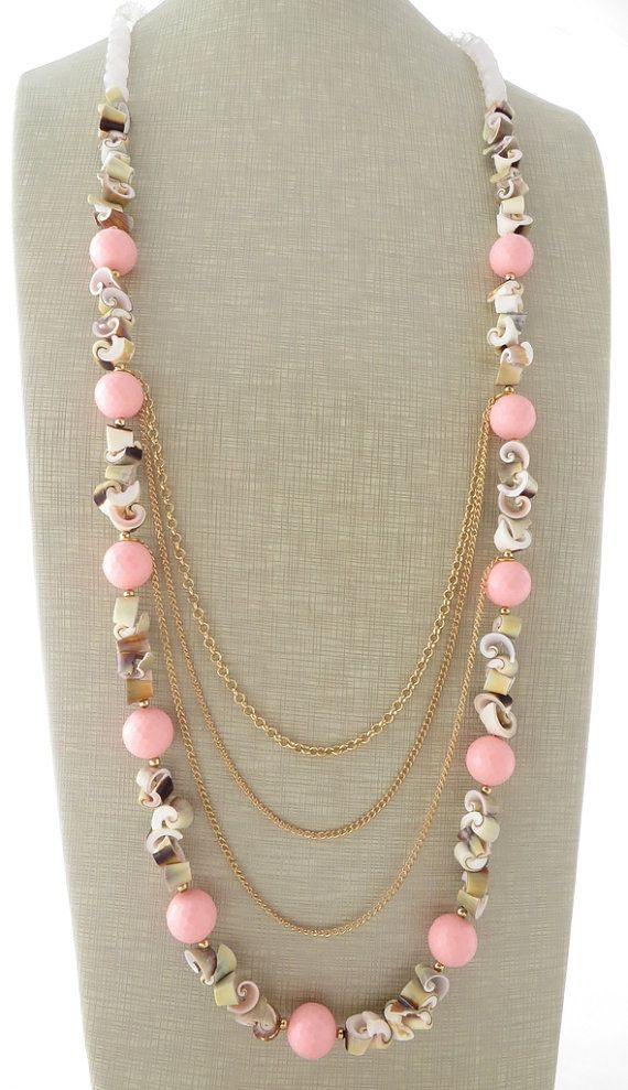 Pink coral necklace, shell necklace, chunky necklace, long necklace, beaded necklace, quartz necklace, beach jewelry, summer jewellery