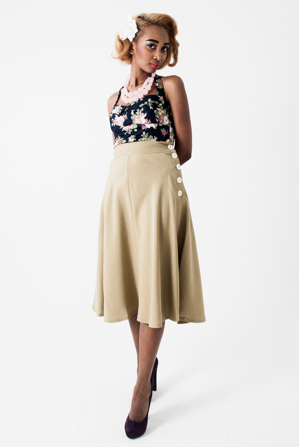 Tara Starlet 1940s 40s Style: Khaki Dancing Skirt 40s 70s Seventies Does Forties Style A