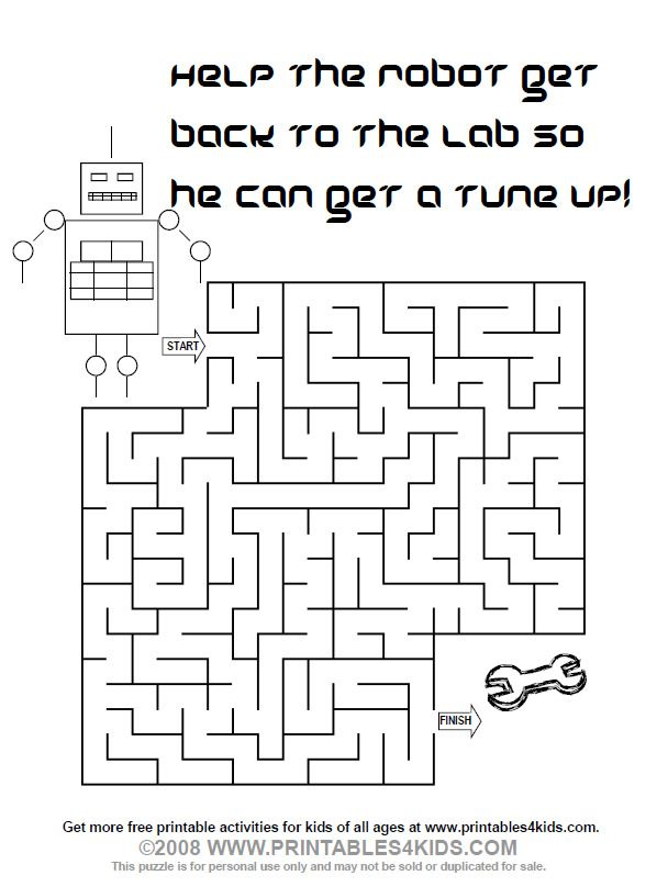 Printable Robot Maze Printables For Kids Free Word Search Puzzles Coloring Pages And Other Activities