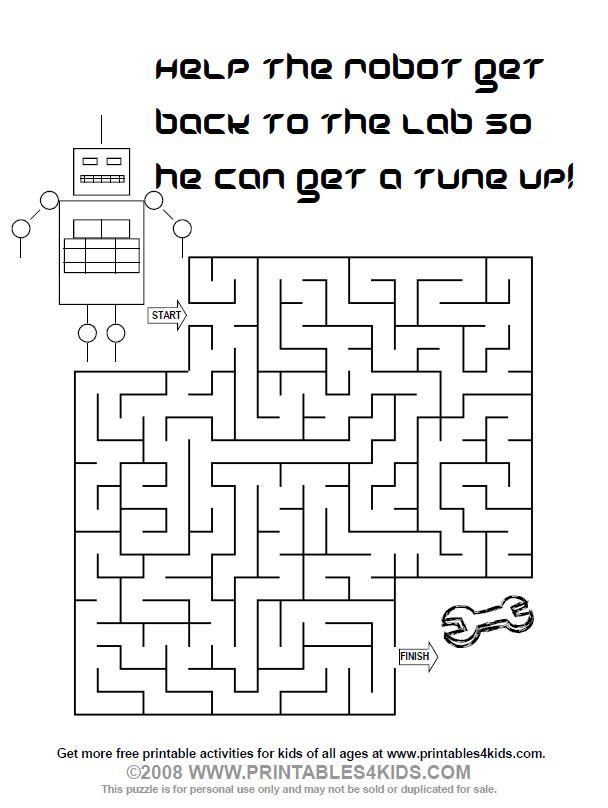 Printable Robot Maze Mazes For Kids Printable Word Puzzles For Kids Mazes For Kids Maze worksheets for year olds