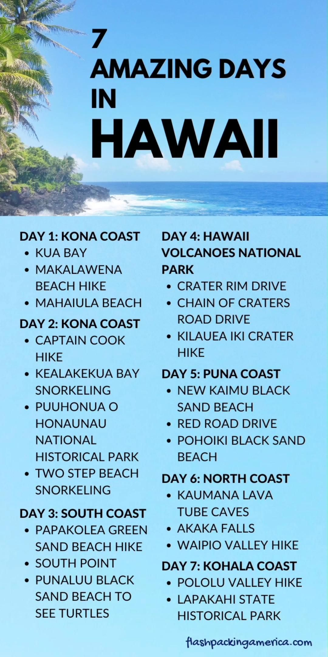 Amazing 7 days in Hawaii - US outdoor vacation ide