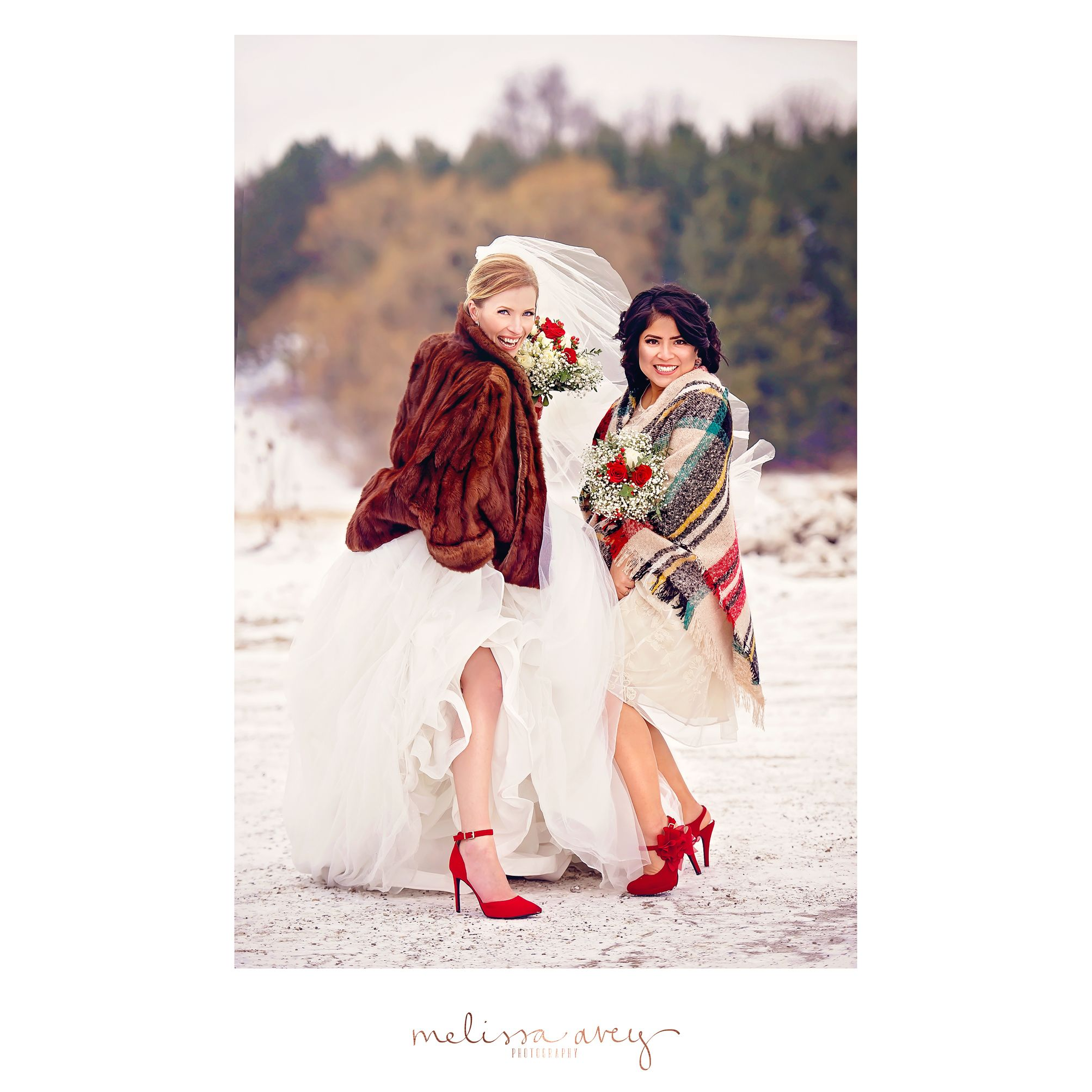 Red dress shoes for wedding  Bride u Bridesmaid red shoes winter wedding Melissa Avey