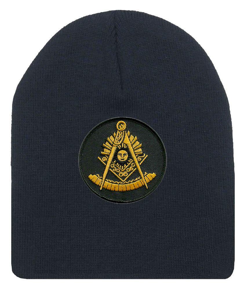 Details About Freemason S Cap Winter Black Beanie Hat With Golden Past Master Masonic Symbol Raznoe