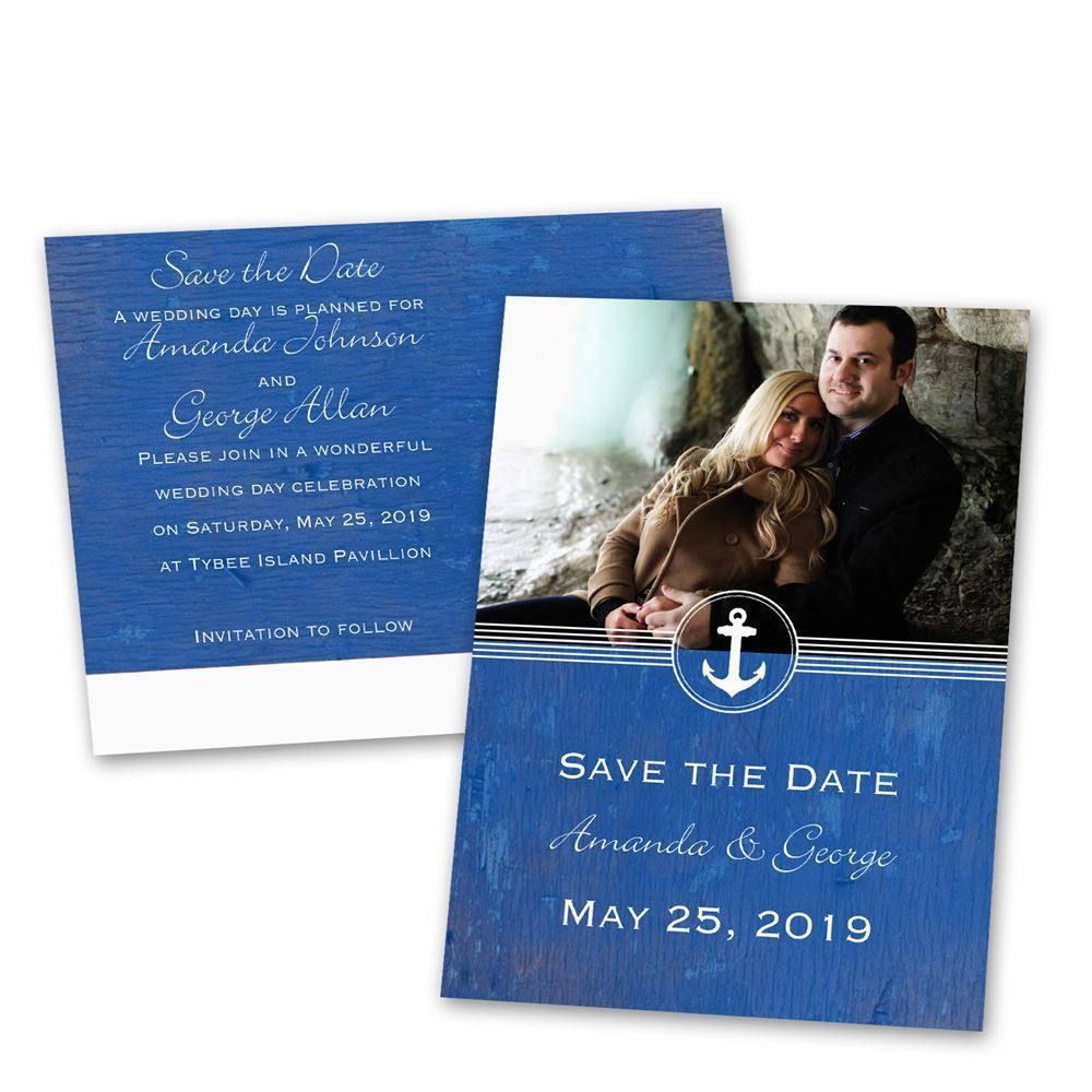 Anchored By Love Save The Date Postcard Nautical Wedding And