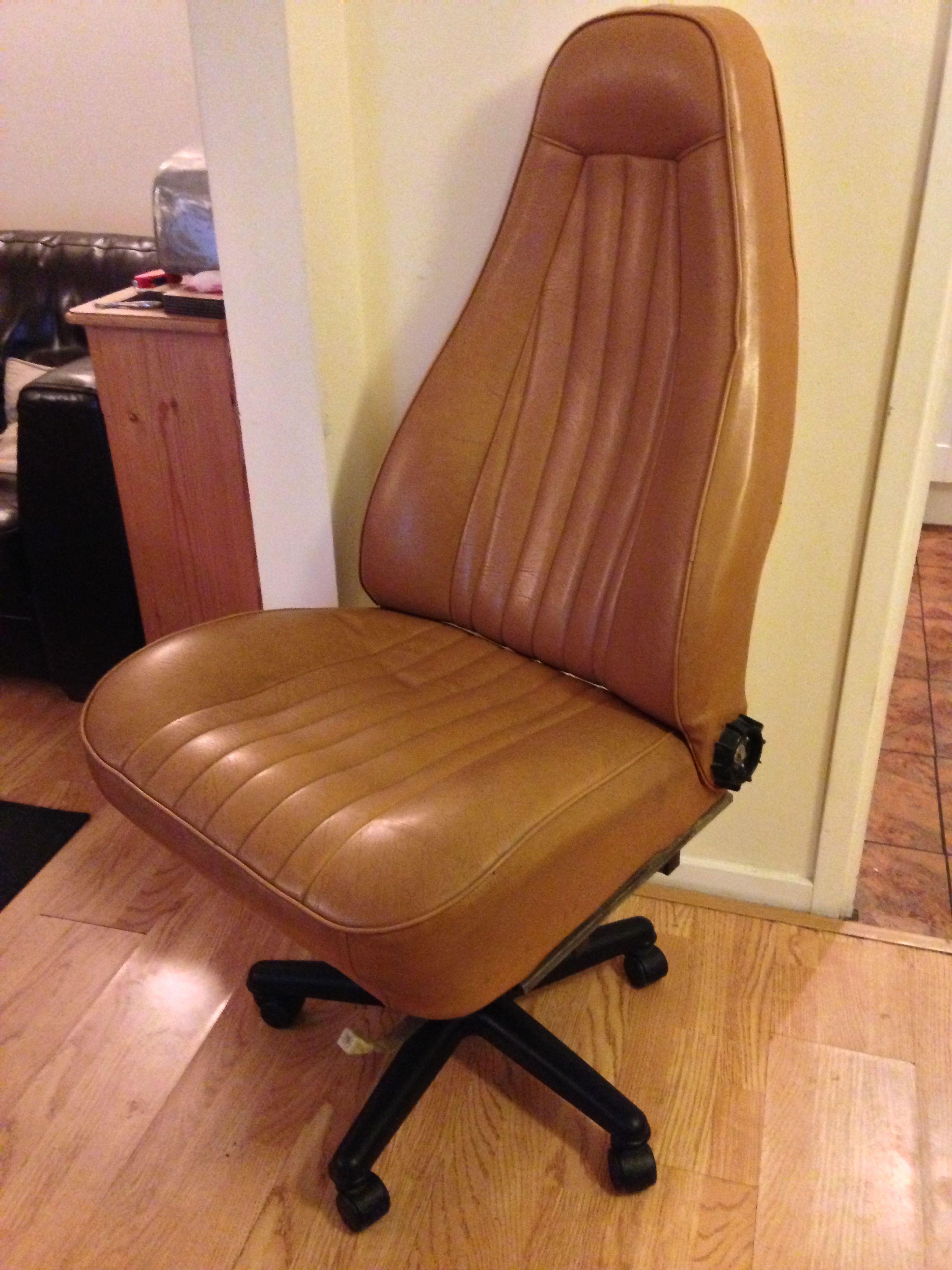 fice chair built from an old Porsche car seat