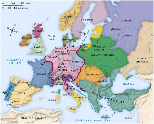 Map of Europe circa 1492 History In Maps II Pinterest