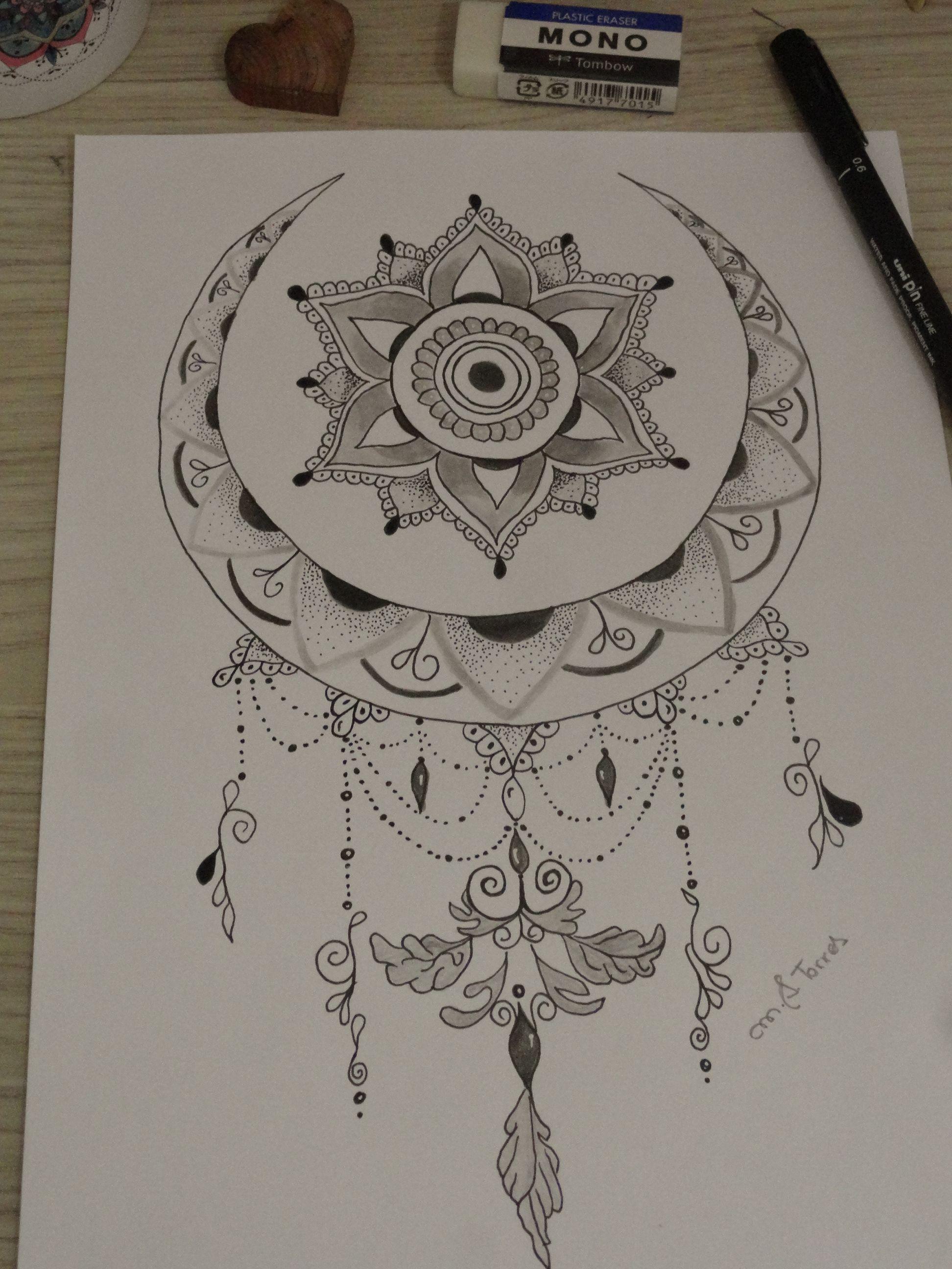 Moon Mandala Mandala Tattoo Design Line Art Tattoos Dream Catcher Tattoo