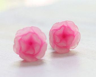 Ombre Pink Flower Plugs Size 4g 2g 0g 00g Custom Gauges for Stretched Ears 4 2 0 00 Vintage Inspired