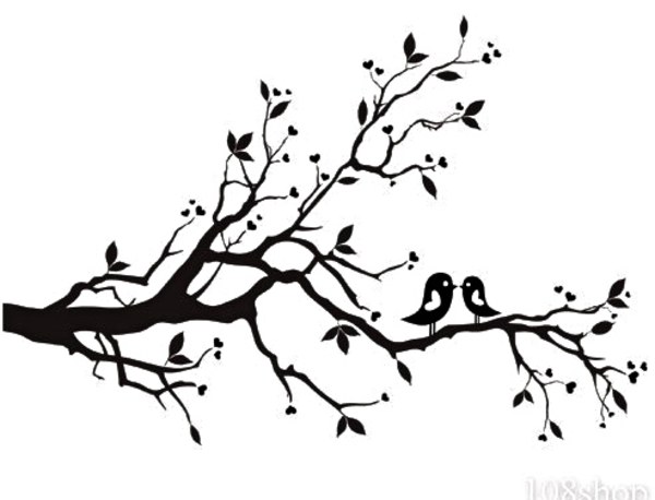 tree with birds clipart free | cherry blossom branch bird vinyl wall
