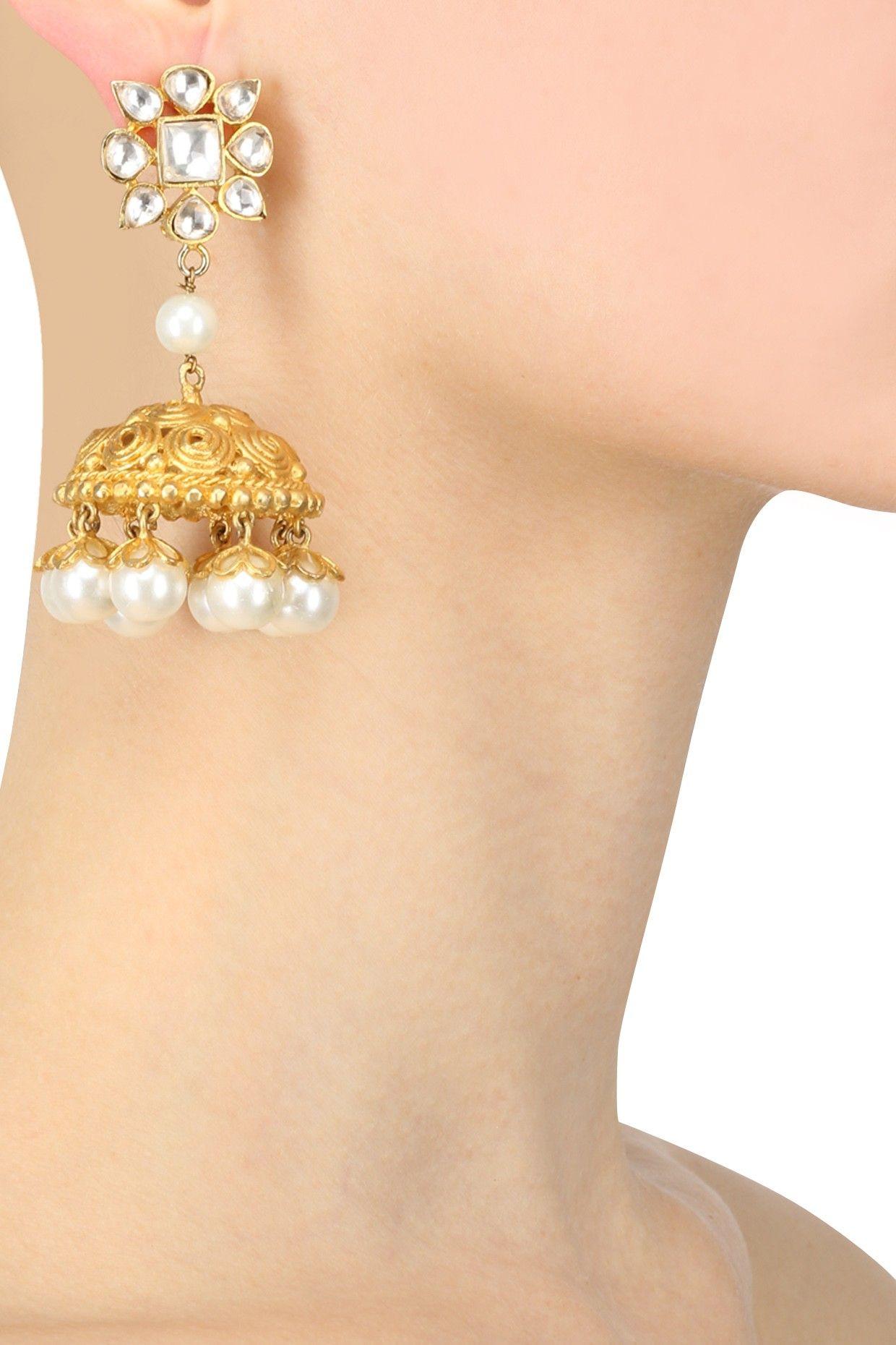 Johara jewels presents Gold finish classic engrave and pearl drop