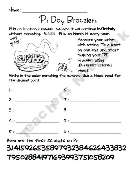 Pi Day Bracelets Pi Day Teaching Math Teacher Notebook