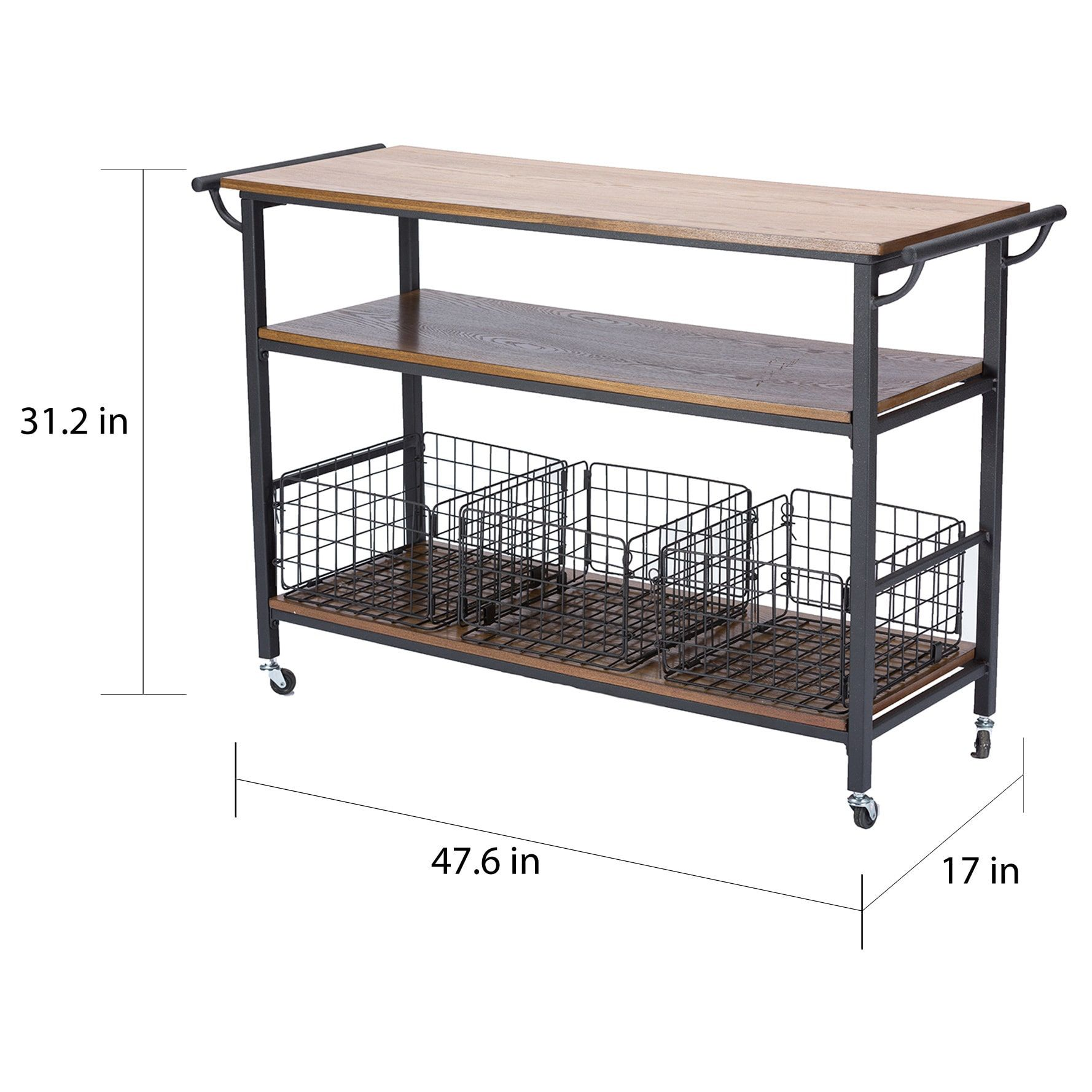 Metal Frame Rustic Kitchen Cart With Wood Tabletops And Shelves |  Overstock.com Shopping   The Best Deals On Kitchen Carts