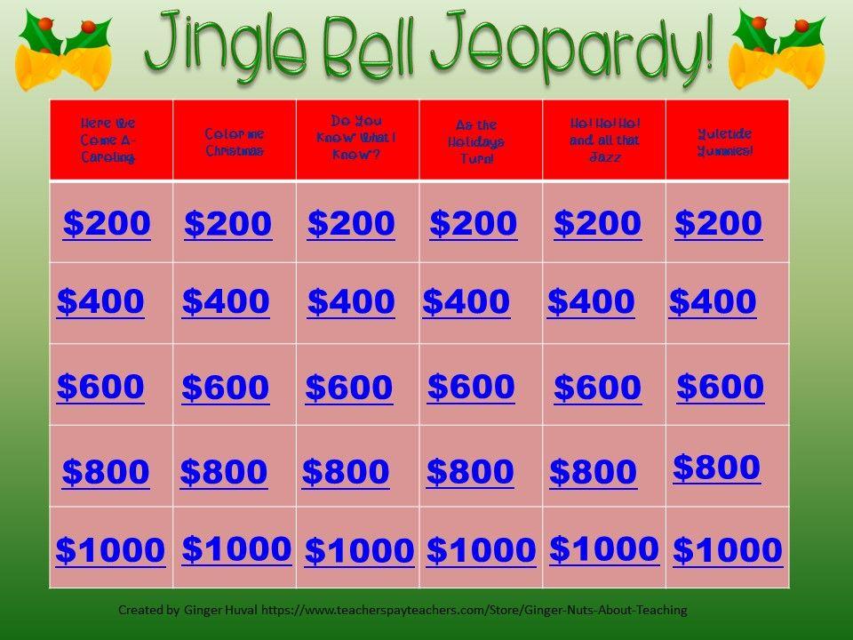 Ho! Ho! Ho! Time to play Jingle Bell Jeopardy, a fun