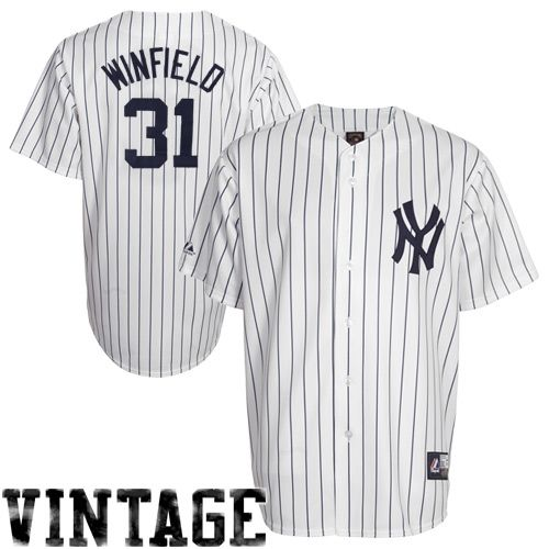 Dave Winfield New York Yankees  31 Majestic Cooperstown Collection  Throwback Jersey – White Pinstripe 6c0d1a05e78