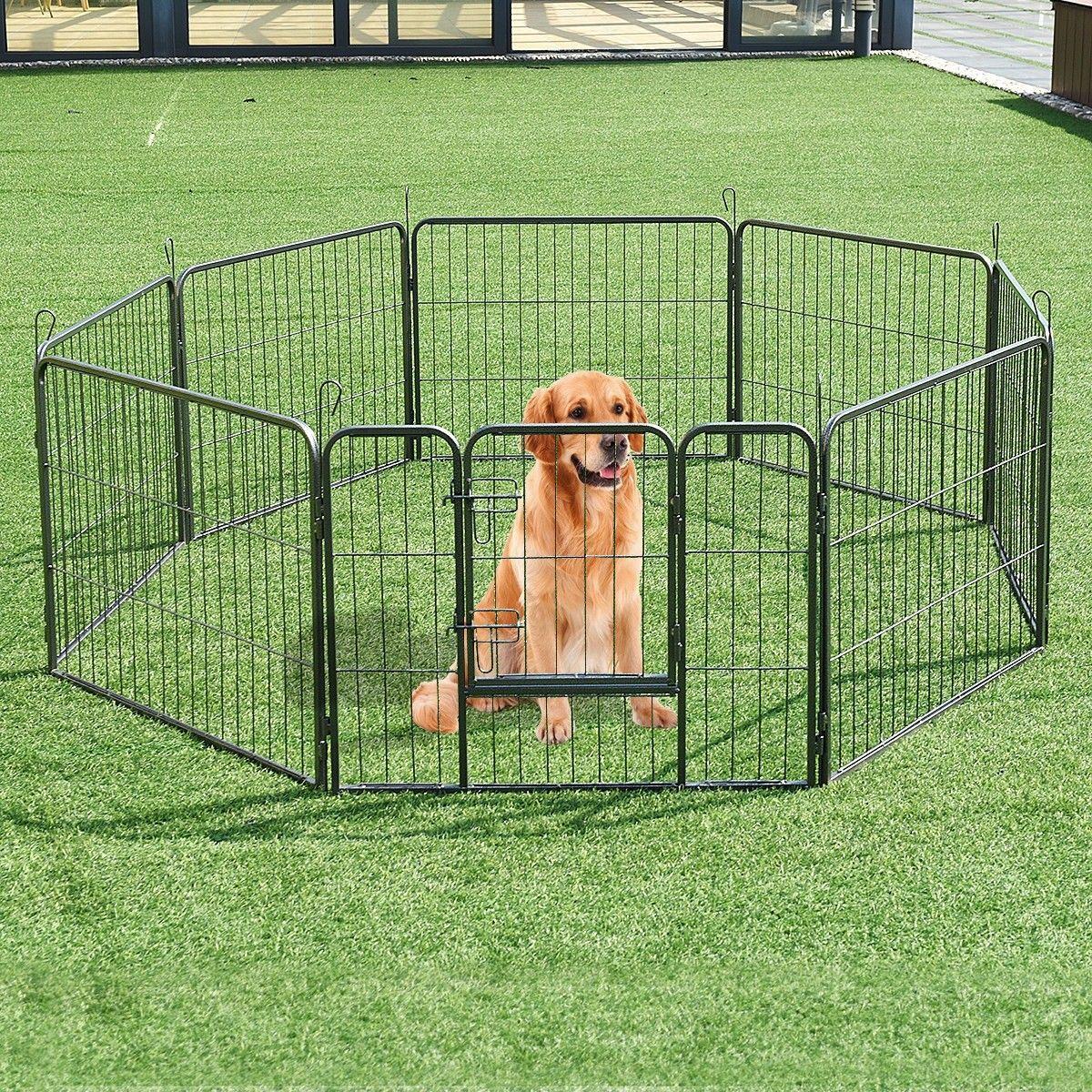 8 metal panel heavy duty pet dog safety gate playpen dog