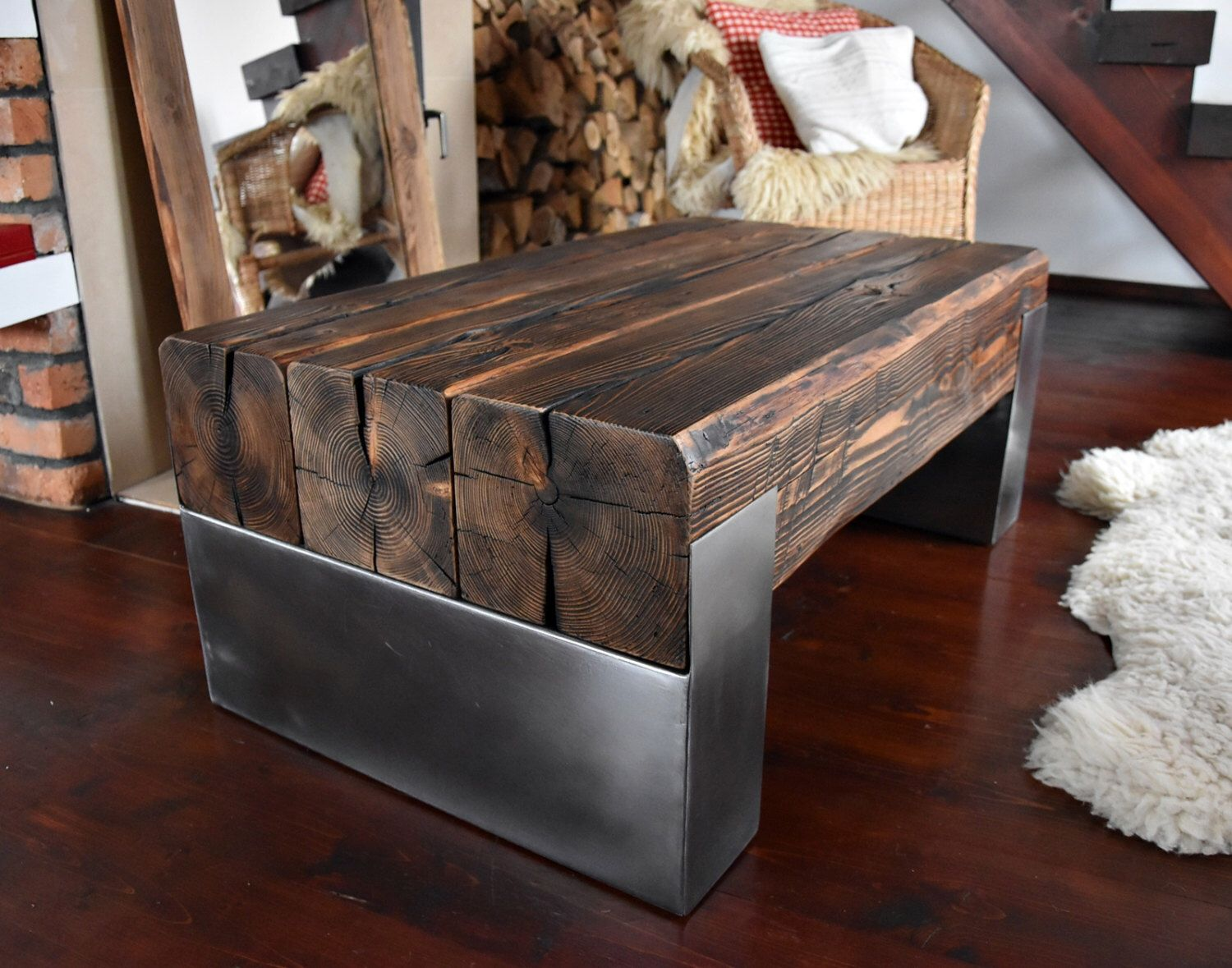 Handmade Reclaimed Wood & Steel Coffee Table Vintage Rustic