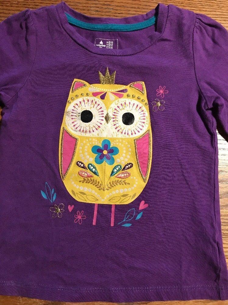 1f02b094 Baby Gap Toddler Girls Size 3T Long Sleeve, Purple, Owl Tee Shirt | eBay