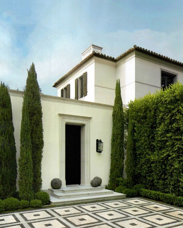 Tuscan House Style With Front Walkway And Italian Cypress: I Love The Simplicity And Elegance Of This Architectural