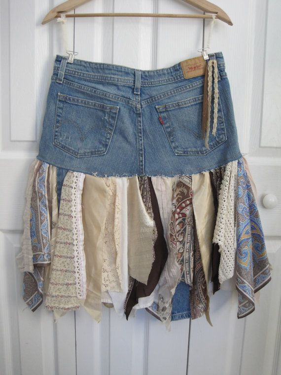 Boho fairy pixie skirt denim pixie skirt Upcycled par ShabyVintage