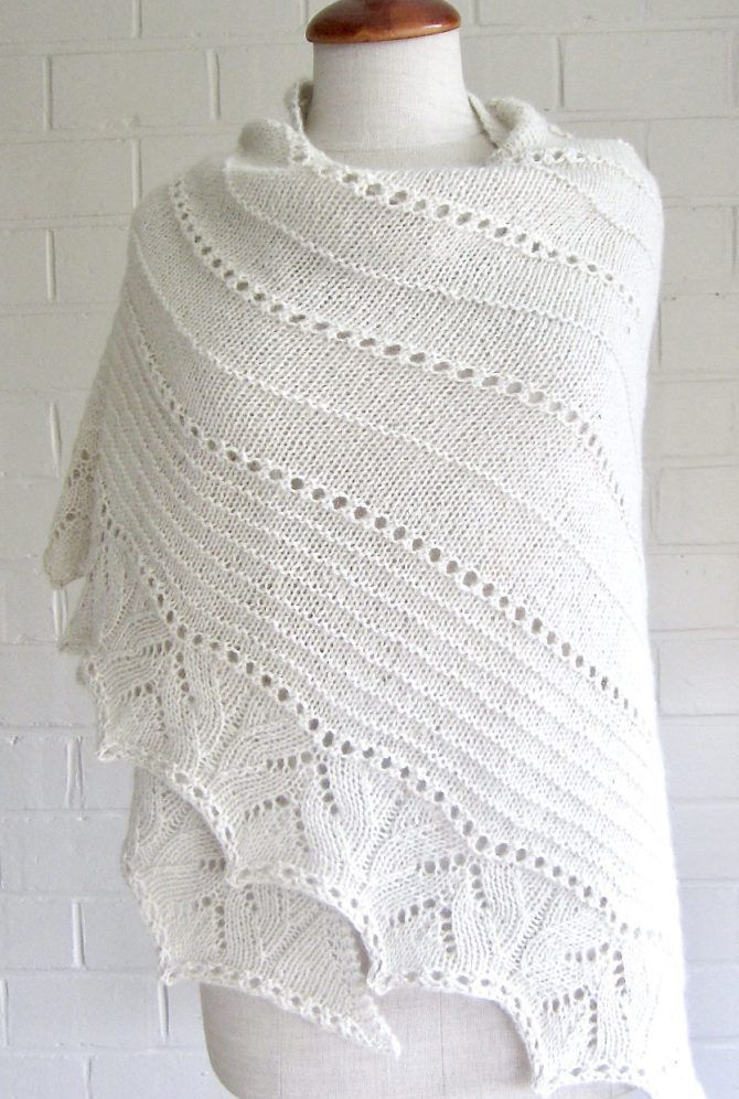 Free Knitting Pattern For More Simple Lines Shawl Triangular