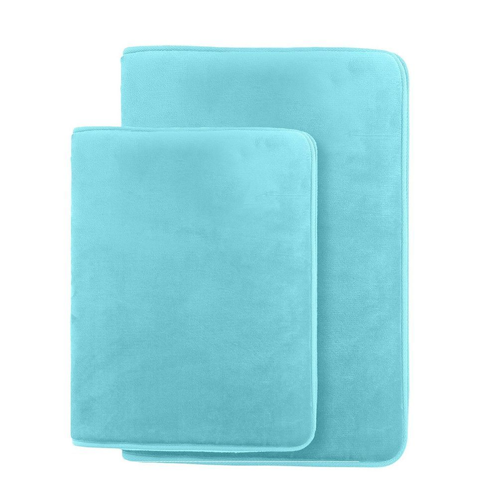 Bath Mats Rugs 2 Piece Memory Teal Blue Small 17x24 Large 20x32 New