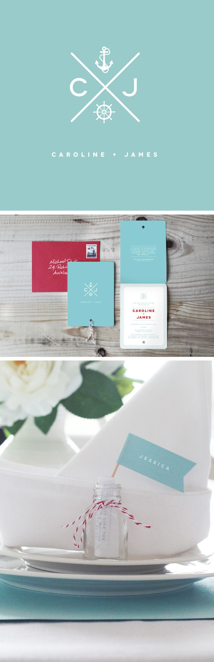 nautical wedding stationary design and favours by cinch creative