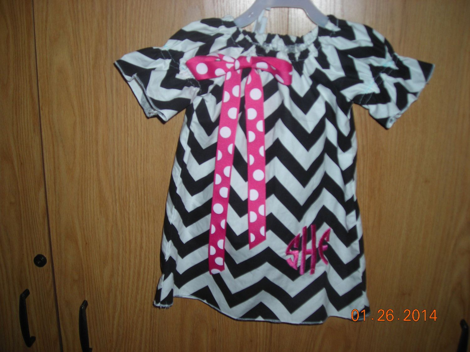 Child's Black Chevron Print Peasant Dress with by 5SewingSisters, $30.00