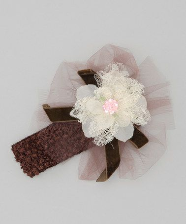 Take a look at this Cream & Brown Flower Headband by Haute Baby on #zulily today!