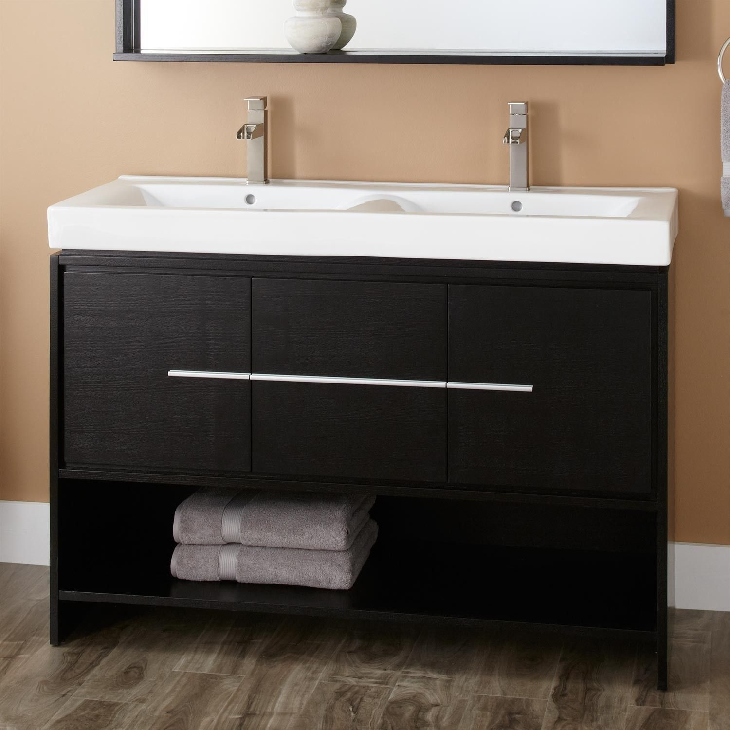 Narrow Double Sink Vanity 48 Quot Kyra Double Vanity Black New House Inexpensive