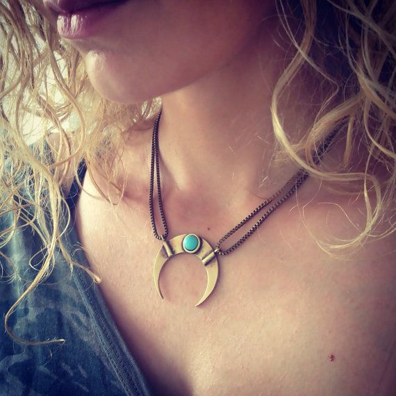 Crescent necklace, moon necklace, double horn pendant by KathyRossJewelry, based in Greece and selling on Etsy