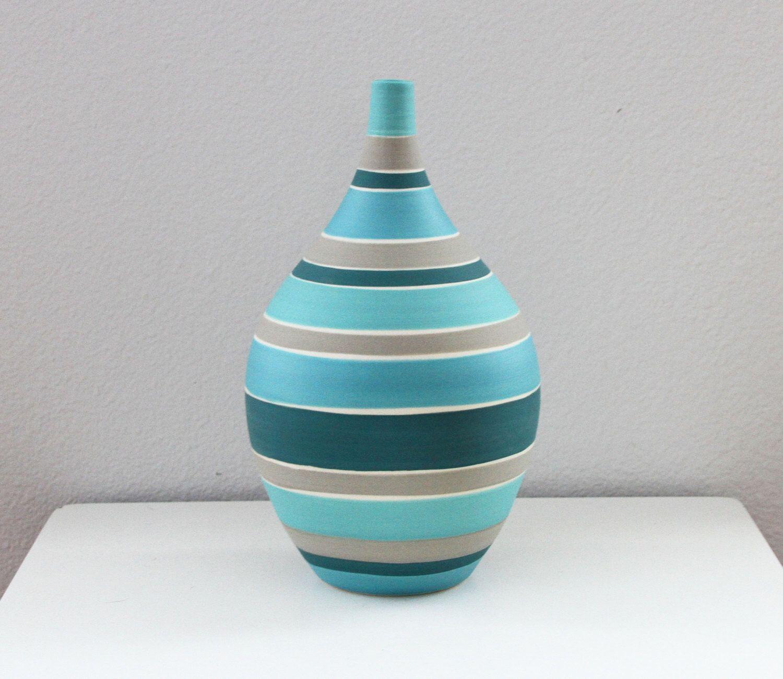 Reserved large striped vase modern handmade pottery vase reserved large striped vase modern handmade pottery vase striped bottle in turquoise grey teal reviewsmspy