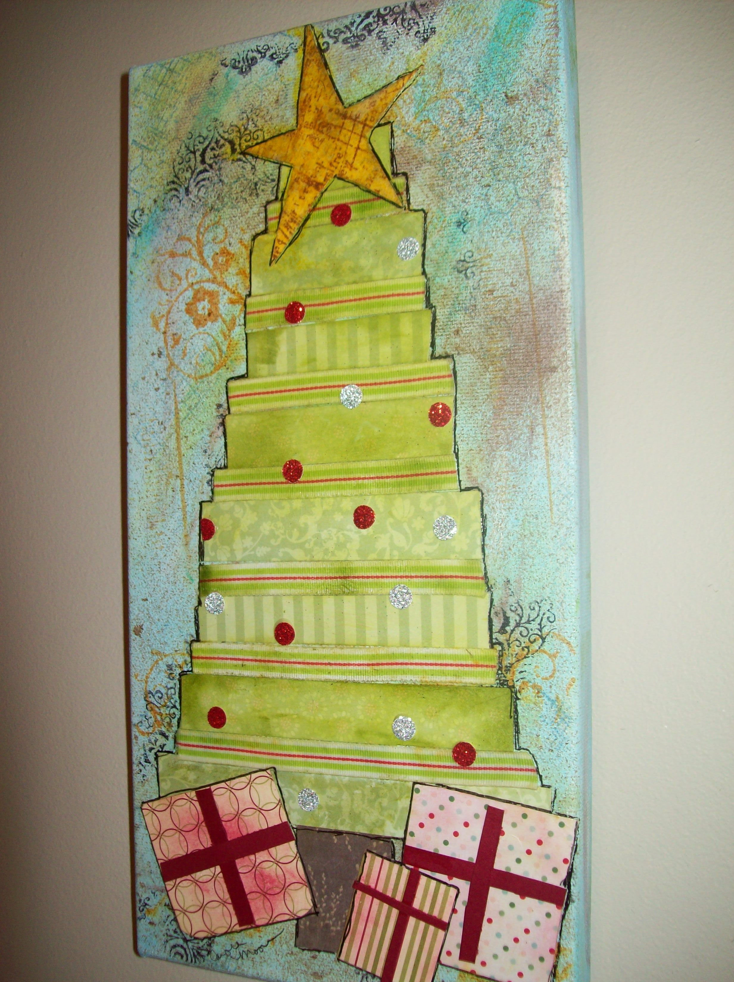 Mixed media canvas for Christmas uld let the boys help