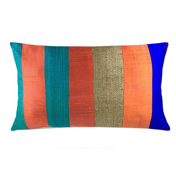 Multicolor Burlap Raw Silk Pillow Cover House Warming Gift Handmade Silk Throw Pillow Decora Silk Cushions Covers Cushion Cover Designs Silk Pillow Cover