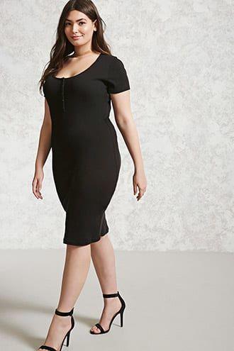 Plus Size Bodycon Henley Dress Jetzt bestellen unter: https://mode ...