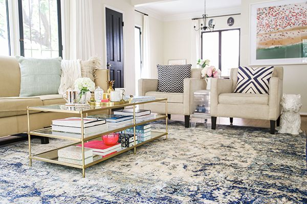 Home Makeover A Bright Airy Blue Themed Living Room Rugs In
