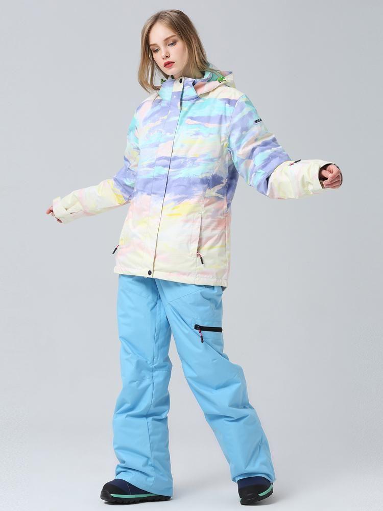 Women's Searipe Nightfall Waterproof Ski Suits – L / Sky Blue