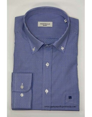 65a87c649 Camisa de hombre marca Pertegaz sport manga larga color azul con ...