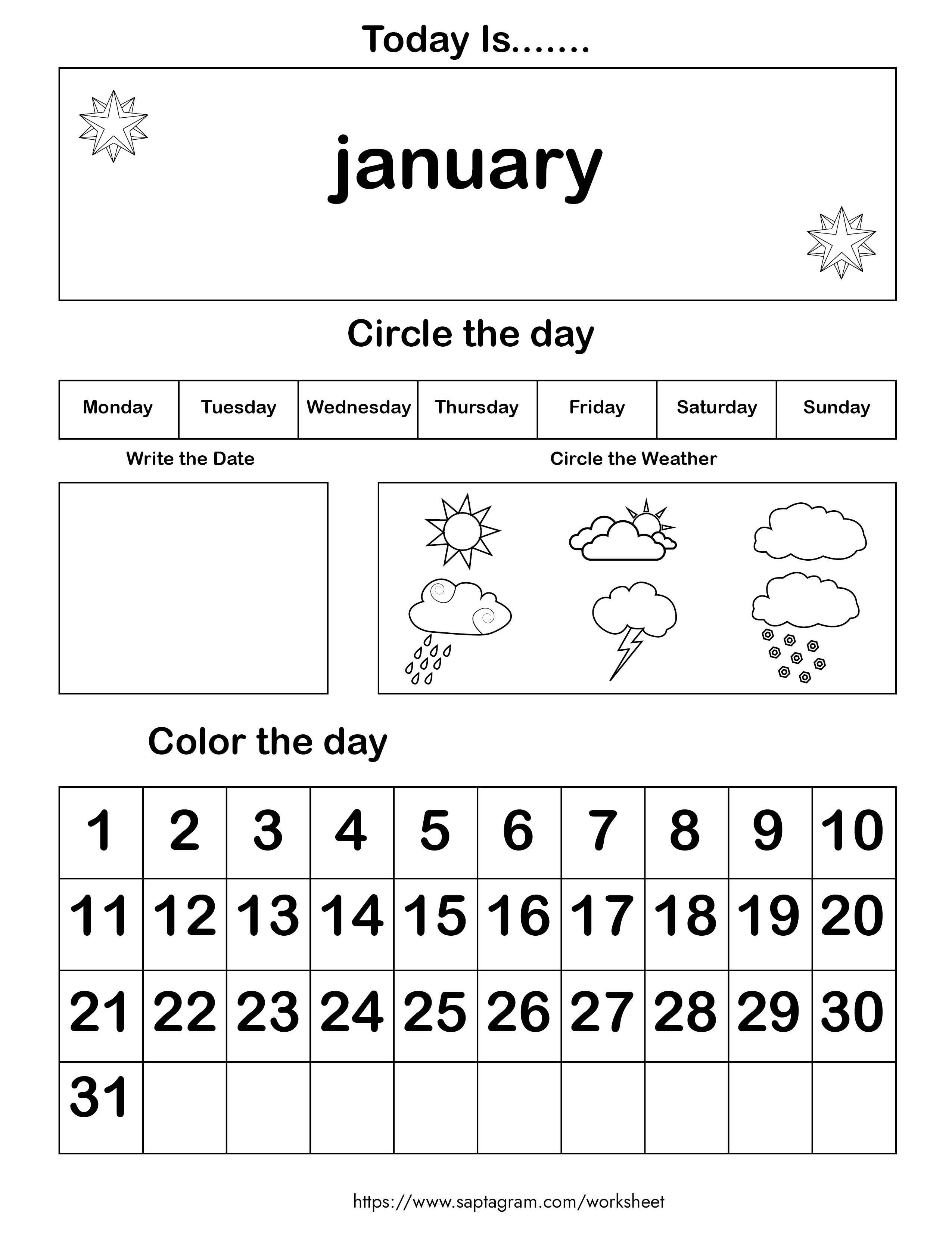 12 Printable Preschool Calendar Worksheet Pages. Month ...
