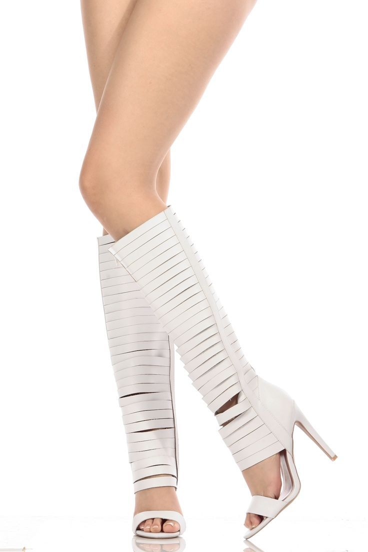 377be14cb7f Women s Fashion High Heels   White Faux Leather Strappy Knee High Gladiator  Heels   Cicihot Heel